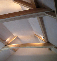 Curved oak beams in situ