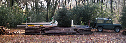 Timber stacked and the mill is readied to begin producing the fencing