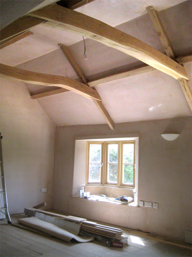 The finished tie beams in place